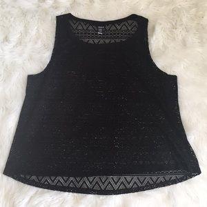 Black crochet crow tank top